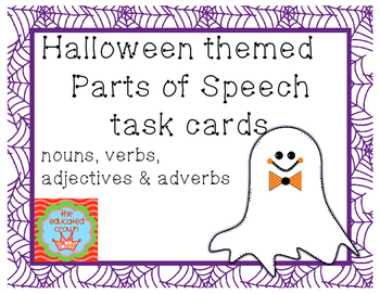 Halloween Themed Parts of Speech Task Cards by Vanessa Crown