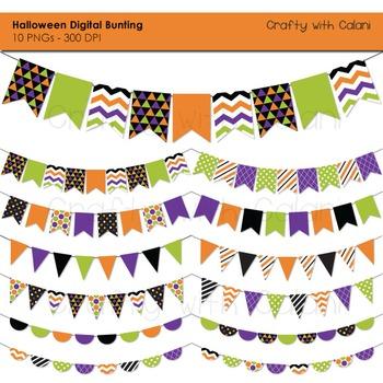 Halloween Themed Pennant Bunting Clip Art