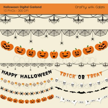Halloween Themed Garland Clip Art