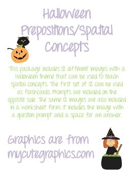 Halloween Themed Spatial Concept/Preposition Flash Cards a