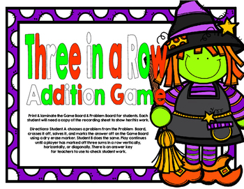 Halloween Three in a Row-3 and 4 Digit Addition