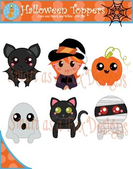 Halloween Topper Digital Clipart (Blacklines included)