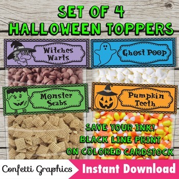 Halloween Treat Bag Toppers Set of 4 pumpkin witch ghost m