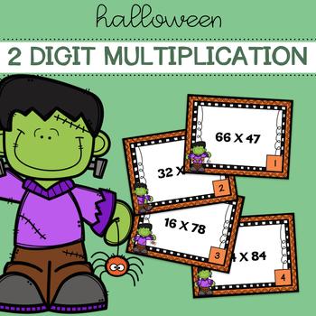 Halloween Two Digit Multiplication Task Cards
