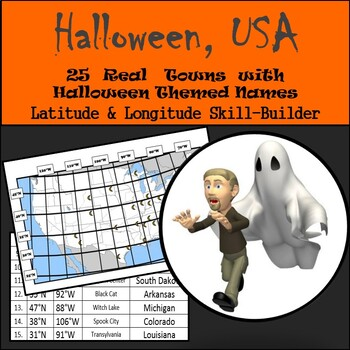 Latitude & Longitude Worksheet - Halloween, USA