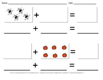 Halloween Visual Addition Worksheet Set (Sums 0-10)