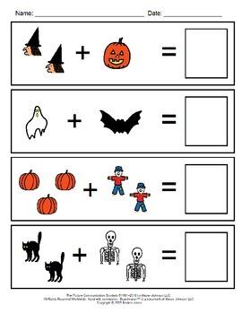 Halloween Visual Addition Worksheets