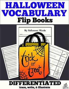 Halloween Vocabulary Words Flip Book: Trace, Cut, & Color