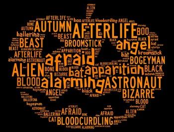 Halloween Vocabulary Word Cloud in Pumpkin Shape (Words St