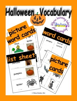 Halloween Vocabulary Word, Flash, & Picture Cards; Great f
