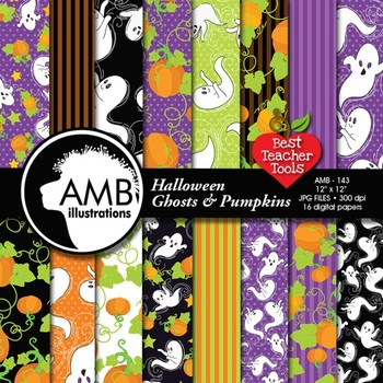 Halloween Whispy Ghosts scrapbook papers AMB-143