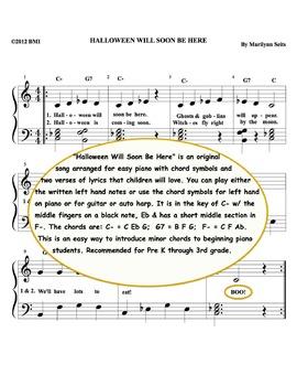 Halloween Will Soon Be Here - easy piano piece with lyrics