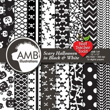Halloween Wispy Ghosts scrapbook papers in Black and White