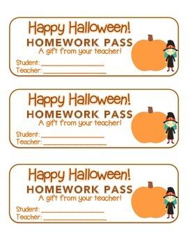 """""""Halloween"""" Witch & Big Pumpkin - Homework Pass –  FUN! (f"""