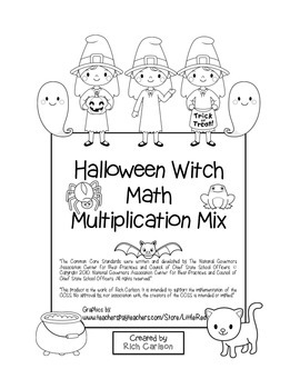 """Halloween Witch Math"" Mixed Multiplication - Common Core"