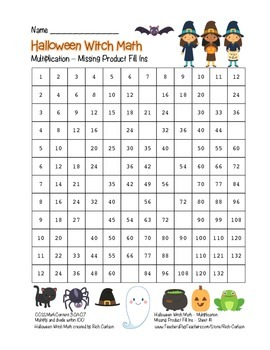"""""""Halloween Witch Math"""" Multiplication Fill Ins  – Easy - F"""