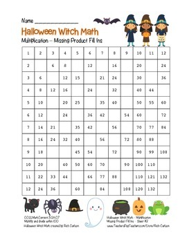 """Halloween Witch Math"" Multiplication Fill Ins  –Hard -FUN"