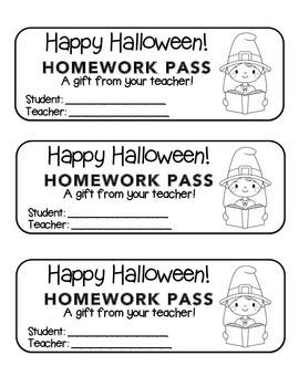 """Halloween"" Witch Reading - Homework Pass –Holiday FUN! (b"