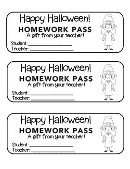 """Halloween"" Witch Standing - Homework Pass –Holiday FUN! ("