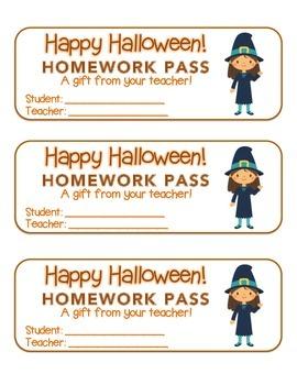 """Halloween"" Witch Waving - Homework Pass –Holiday FUN! (co"