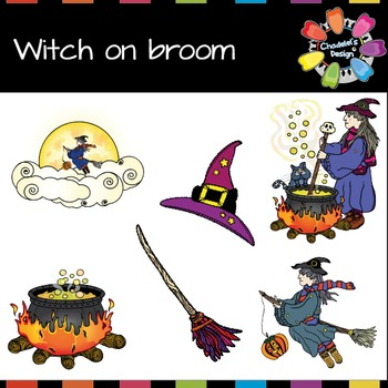 Witch on the Broom Clips [Halloween Clips]