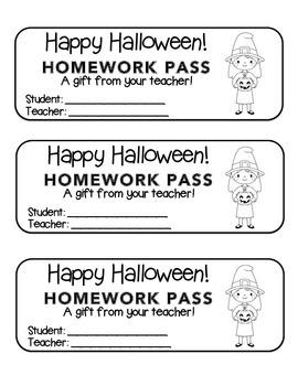 """Halloween"" Witch with Jack-O'-Lantern - Homework Pass – F"