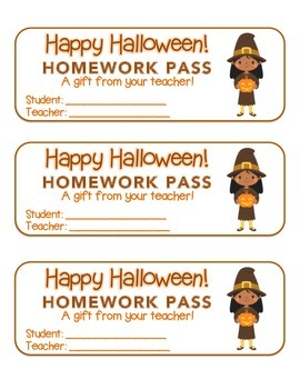 """Halloween""  Witch with Jack-O'-Lantern- Homework Pass! (c"