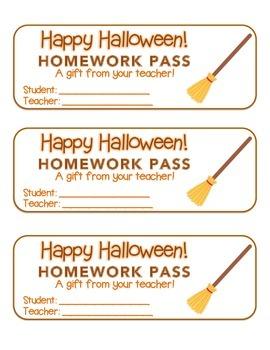 """Halloween"" Witch's Broom - Homework Pass –Holiday FUN! (c"