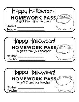 """Halloween"" Witch's Cauldron - Homework Pass –Holiday FUN!"