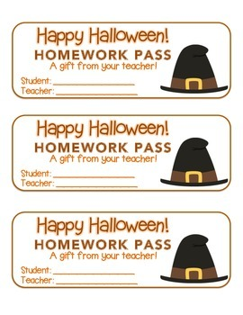 """""""Halloween"""" Witch's Hat - Homework Pass – FUN! (color & bl"""