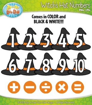Halloween Witch's Hat Math Numbers Clip Art — Over 30 Graphics!