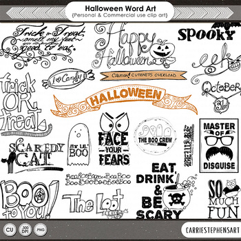 Halloween Word Art, Halloween Party ClipArt, Halloween Wor