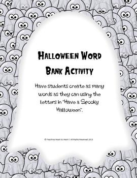 Halloween Word Bank Activity