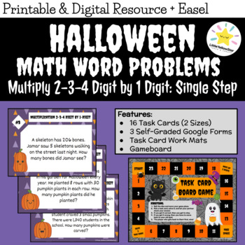 Halloween Word Problems Task Cards - Multiplication 2-3-4-