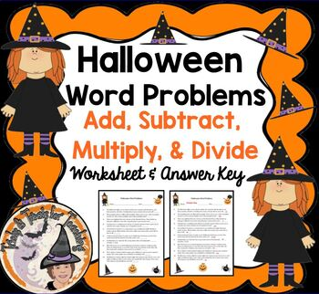 Halloween Word Problems with Answer KEY Add Subtract Multi