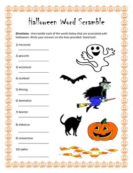 Halloween Word Scramble- 10 Words