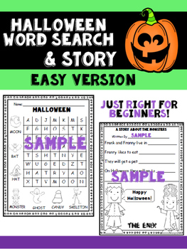 Halloween Word Search and Story for Beginners
