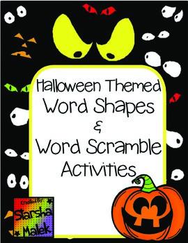 Halloween Word Shapes & Word Scramble (S.Malek)