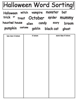 Halloween Word Sorting