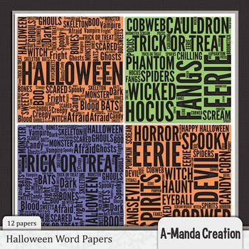 Halloween Words Digital Papers