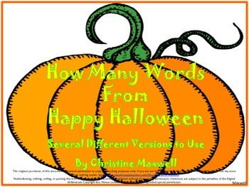 Halloween Words to Make