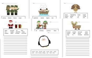 *NOV/DEC* Writing Sentences- Creative Stories {EDITABLE}