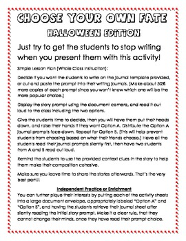 Halloween Writing Activity - Choose Your Own Fate