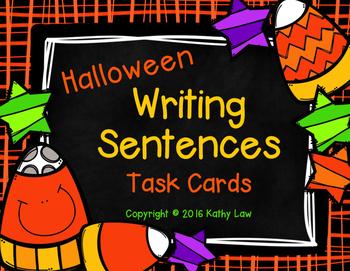 Halloween Writing Sentences Task Cards