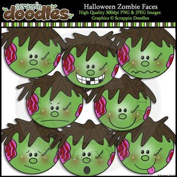 Halloween Zombie Faces Clip Art & Line Art