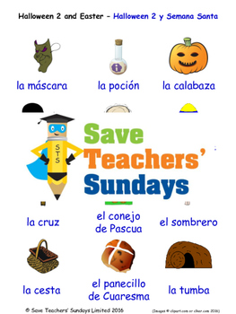 Halloween and Easter in Spanish Worksheets, Games, Activit