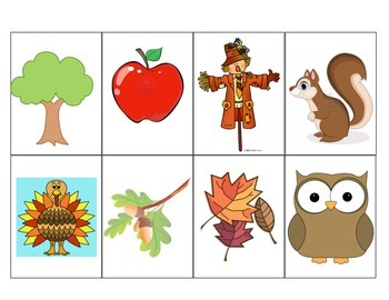 Halloween and Fall- Small Flashcards for vocabulary practice