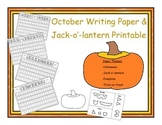 Halloween and Pumpkin Writing Paper with Jack-O`-Lantern P