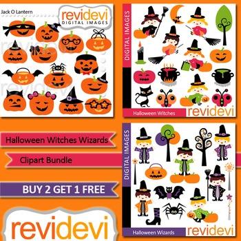Halloween clip art (3 packs) - Cute witch, wizard, jack o