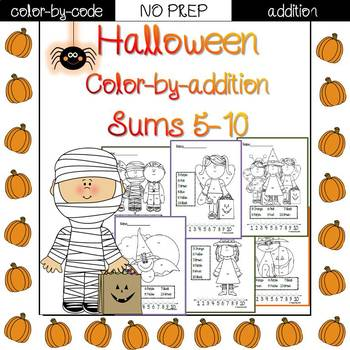 Halloween color by code {addition}